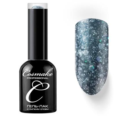 Гель-лак Cosmake №071 с липким слоем 11мл Серый с цветными блёстками