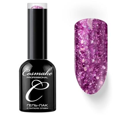 Гель-лак Cosmake №074 с липким слоем 11мл Бордо-розовый с блёстками