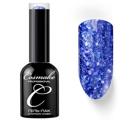 Гель-лак Cosmake №077 с липким слоем 11мл Синий с блёстками