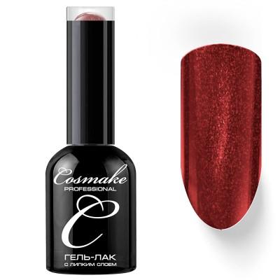 Гель-лак Cosmake №119 с липким слоем 11мл Бордовый с блестками