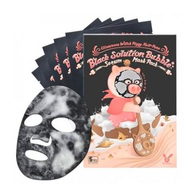 НАБОР/Ткан. маска Witch Piggy Hell-Pore Black Solution Bubble Serum Mask Pack, 1 шт, [Elizavecca]